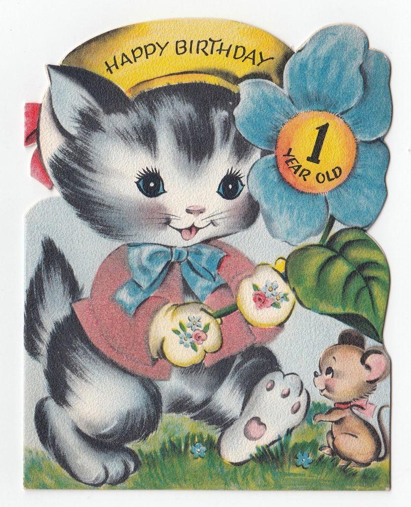 Vintage greeting card cute flocked cat kitten birthday 1 year old vintage greeting card cute flocked cat kitten birthday 1 year old age one kristyandbryce Choice Image