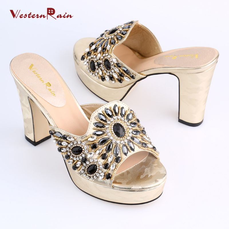 e9099b5f3ed WesternRain New Design Western Style Bright Rhinestones Luxury High Heel  Wedge Sandals For Ladies Dinner Party
