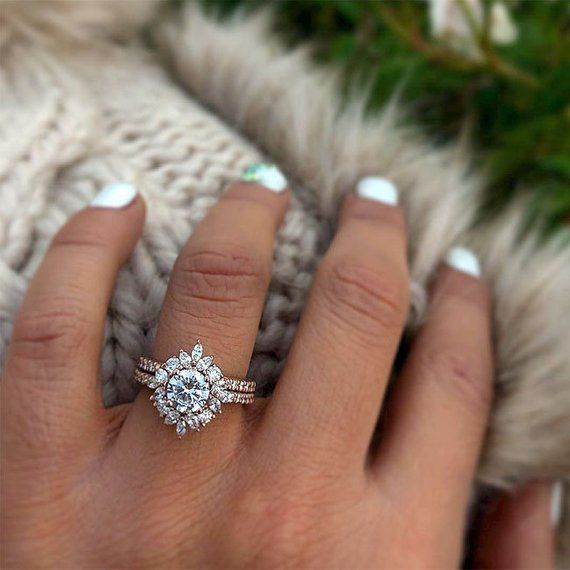 Items similar to Barkevs Rose Gold Diamond Unique Halo Engagement Ring Set, Forever One Moissanite, Available with a Diamond or Moissanite Center, 8065SP on Etsy