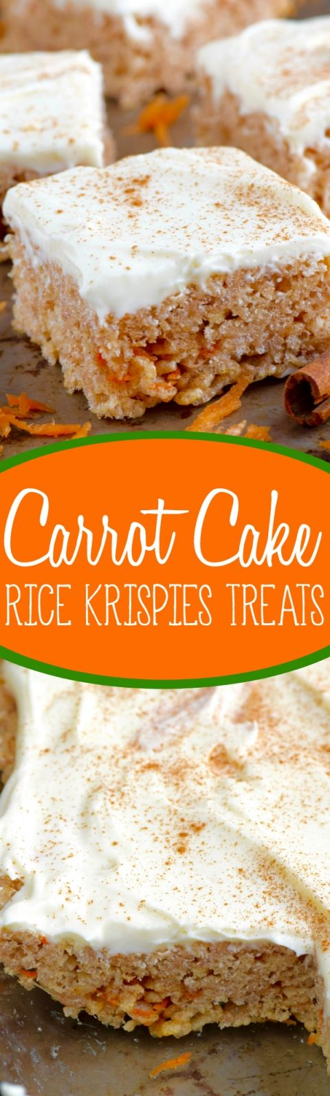 These Carrot Cake Rice Krispies® Treats are an absolutely amazing twist on your favorite easy treat! #ricekrispiestreats