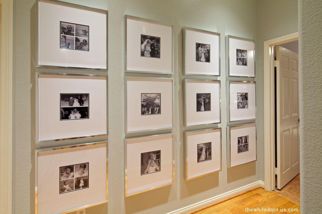 Hallway photo gallery, silver frames