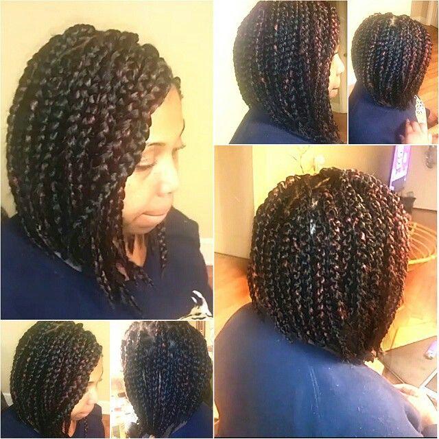 Chunky Thick Box Braids Into A Bob Hairstyle Hair Styles Short Box Braids Hair Affair