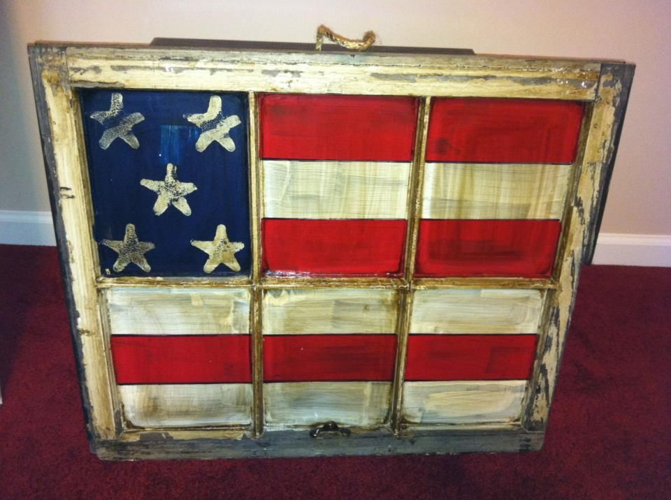 Old Window Painted Into American Flag I Want To Make One