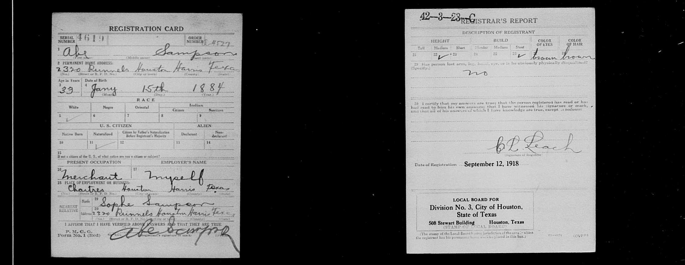 "Abe Sampson, ""United States World War I Draft Registration"
