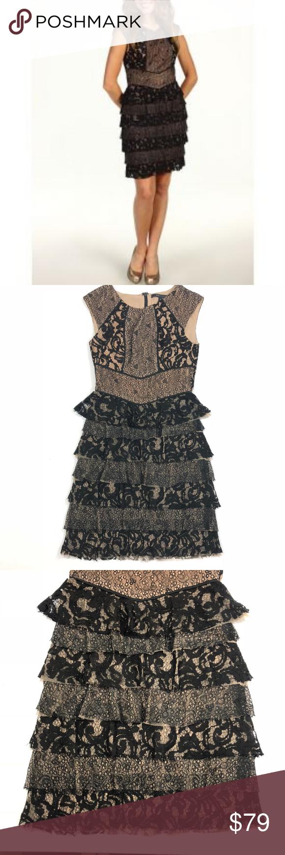 Bcbgmaxazria Black Cream Lace Tiered Ruffle Dress Tiered Ruffle Dress Dresses Bcbgmaxazria Dresses [ 1740 x 580 Pixel ]