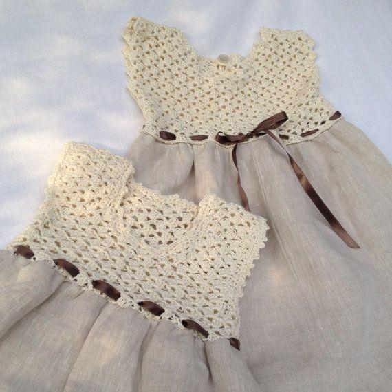 Child Costume Linen and cotton gown, bridesmaid gown, labored crochet and stitch - #Bridesmaid #Child #Costume #cotton #crochet #gown #labored #Linen #Stitch #vestidosparabebédeganchillo