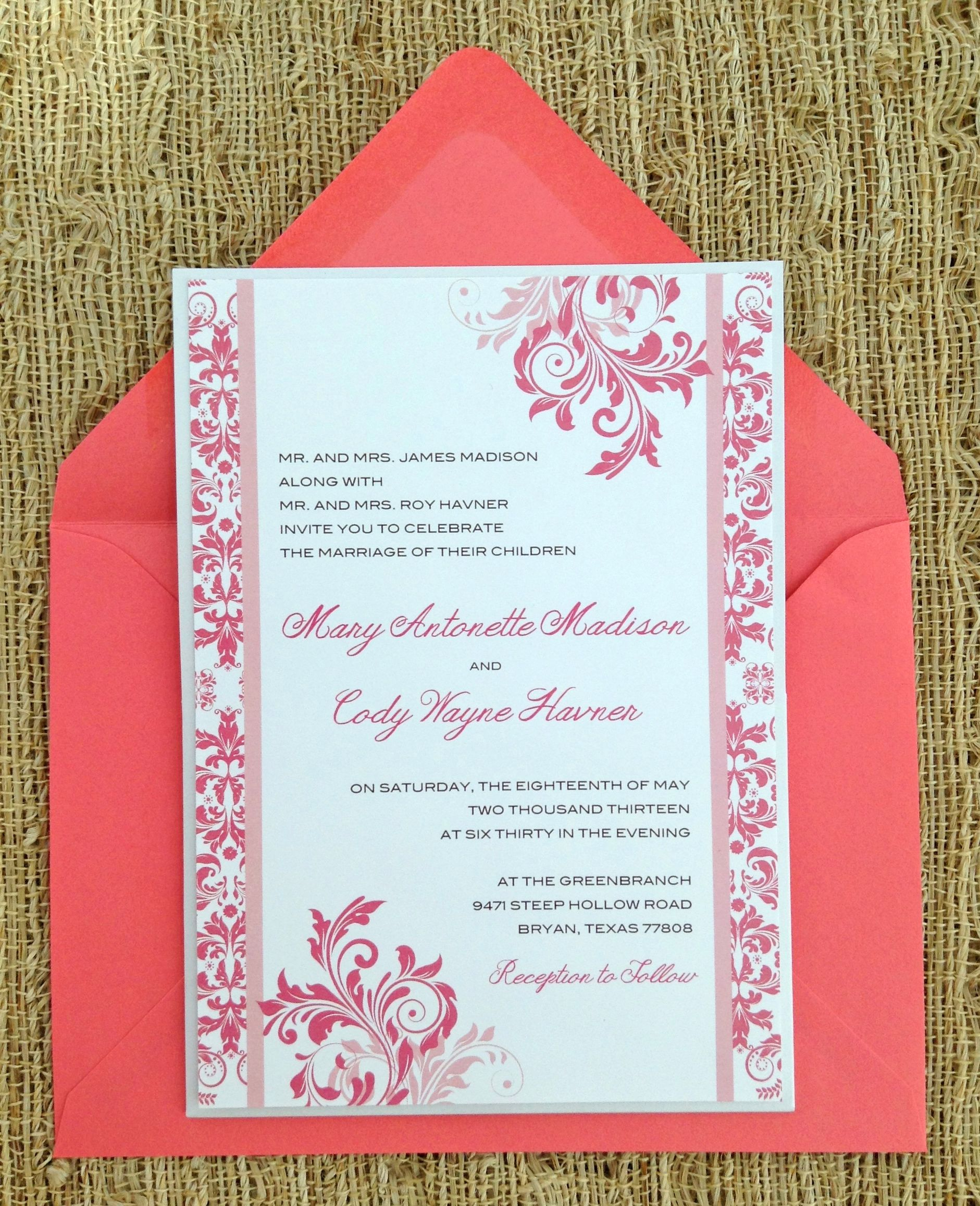 Wish I Could Find These Coral Wedding Invitations