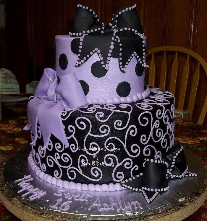 Purple Sweet  Birthday Cakes Sweet  Bows Dots Scrolls - Sweet 16 birthday cakes