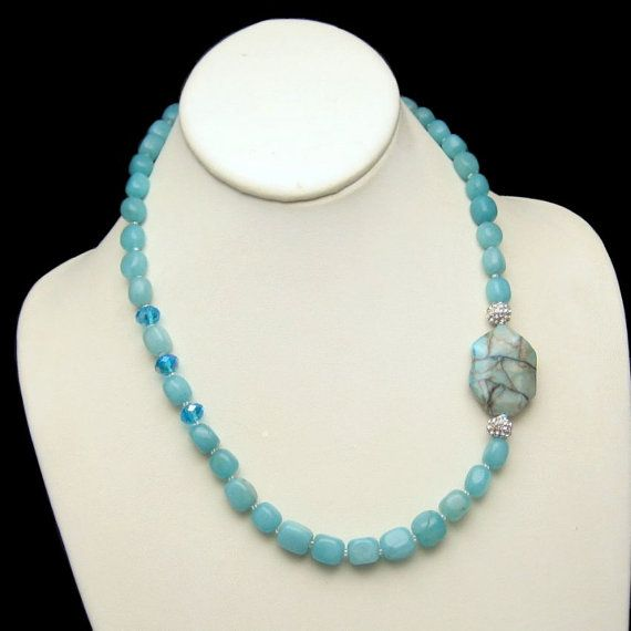 Chrysoprase Beads Vintage Necklace - Aqua Green by #MyClassicJewelry - This necklace is sure to receive compliments for its beauty! Pair with a white blouse for a pop of color or your favorite LBD. Order today - https://www.etsy.com/listing/205094482/chrysoprase-beads-vintage-necklace-aqua?ref=shop_home_active_6 #Vintage #Necklace #Etsy