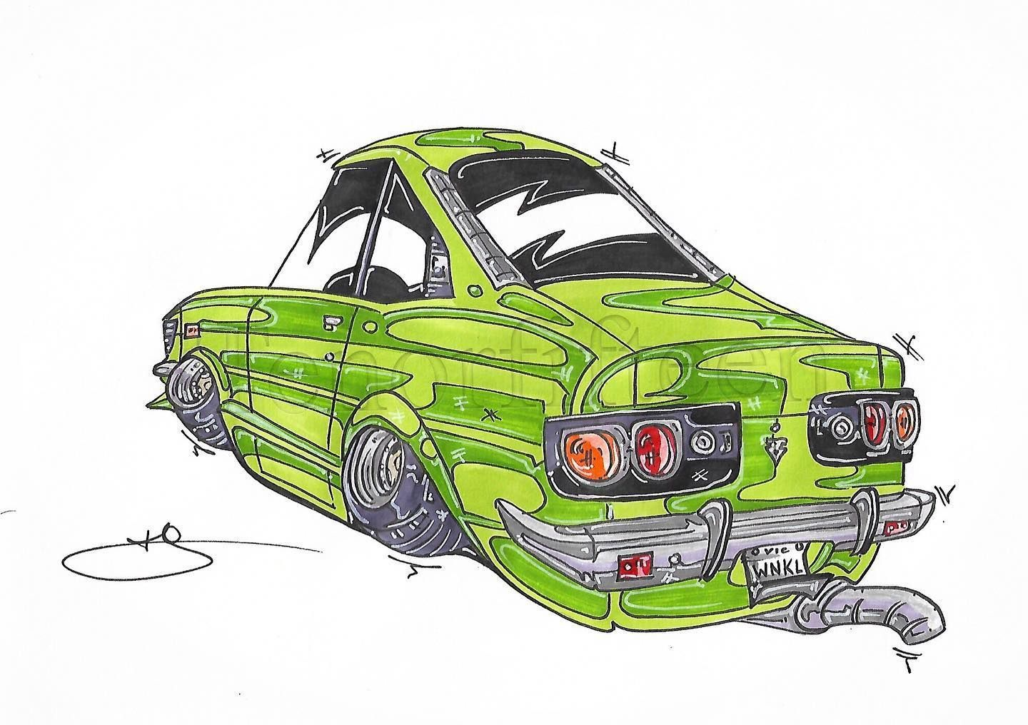 Sub-lime #rx3 #mazdarx3 #savannarx3 #savanna #rotary #wankel #10a as a #drawing #cardrawing inquire for pricing and commissions