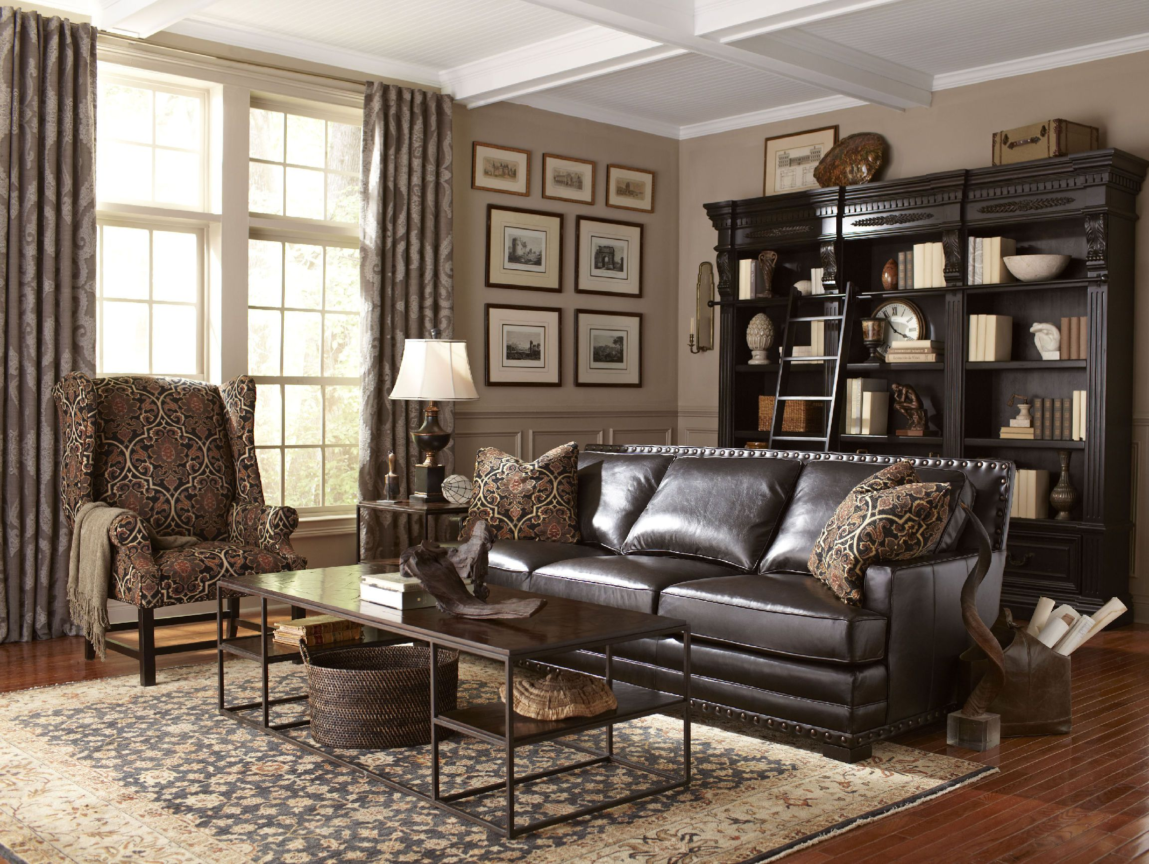 Bernhardt Fudge Top Grain Semi Aniline Leather Sofa Has Generous Down Blend  Seating, Large Track Style Arms And Nail Head Trim.