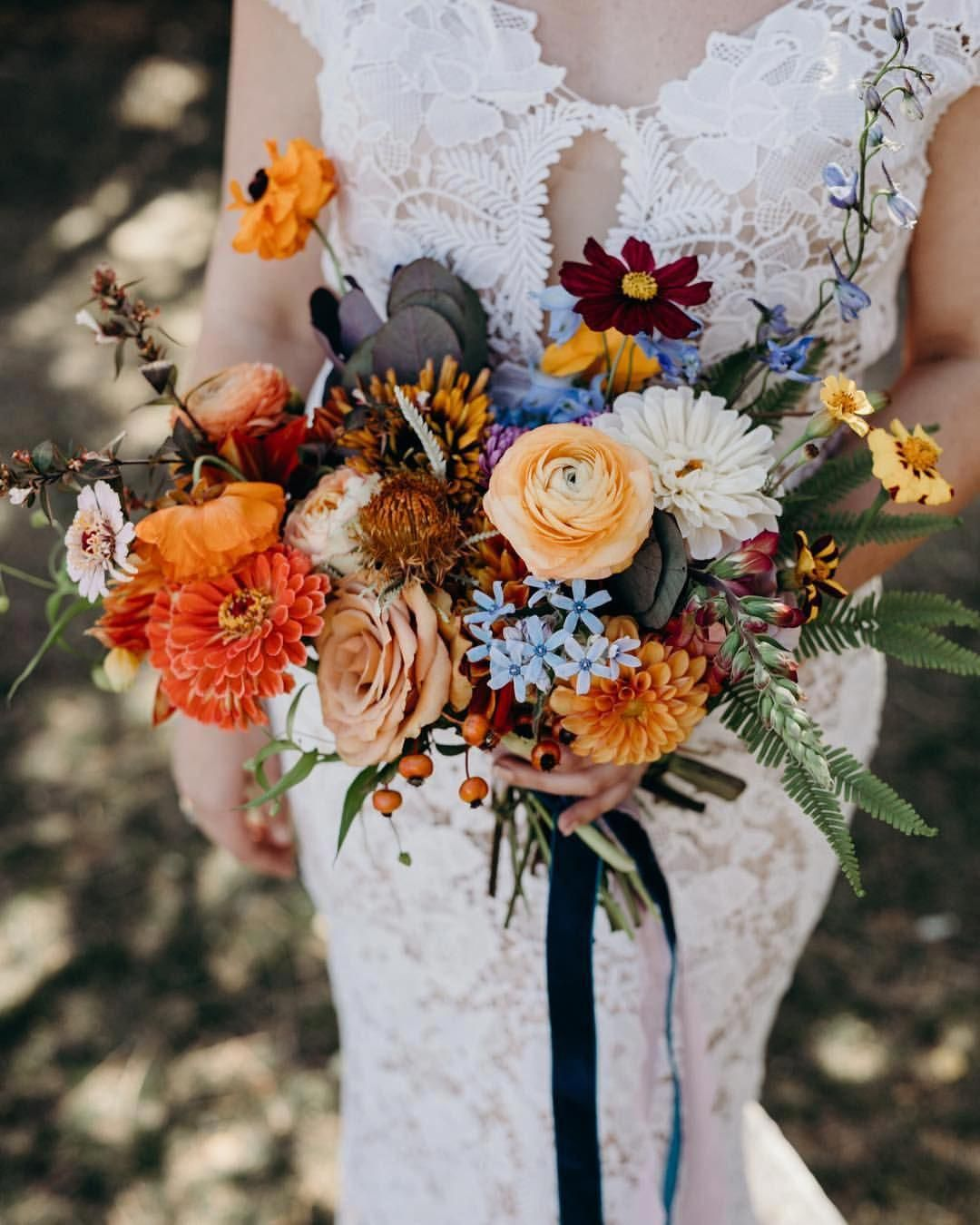 Organic Fall Wedding Bouquet With Gold Burnt Orange Burgundy And