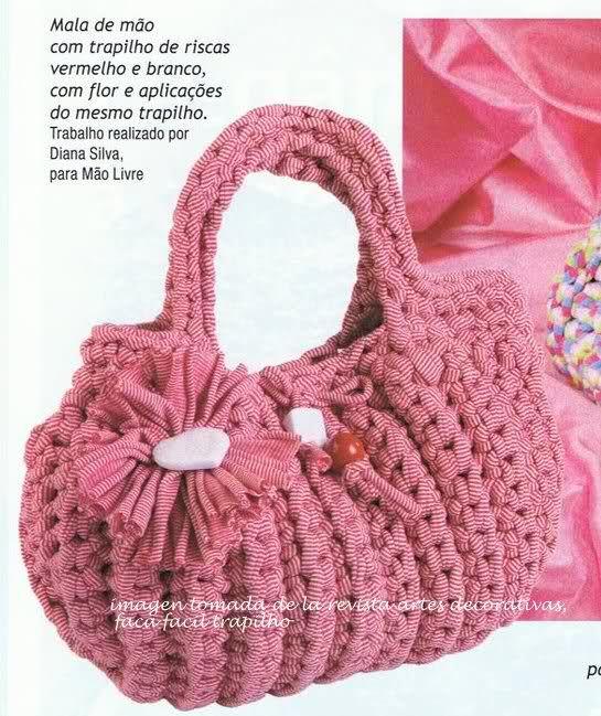 Bolso totora crochet pinterest bajos bolsos y trapillo - Puntos crochet trapillo ...
