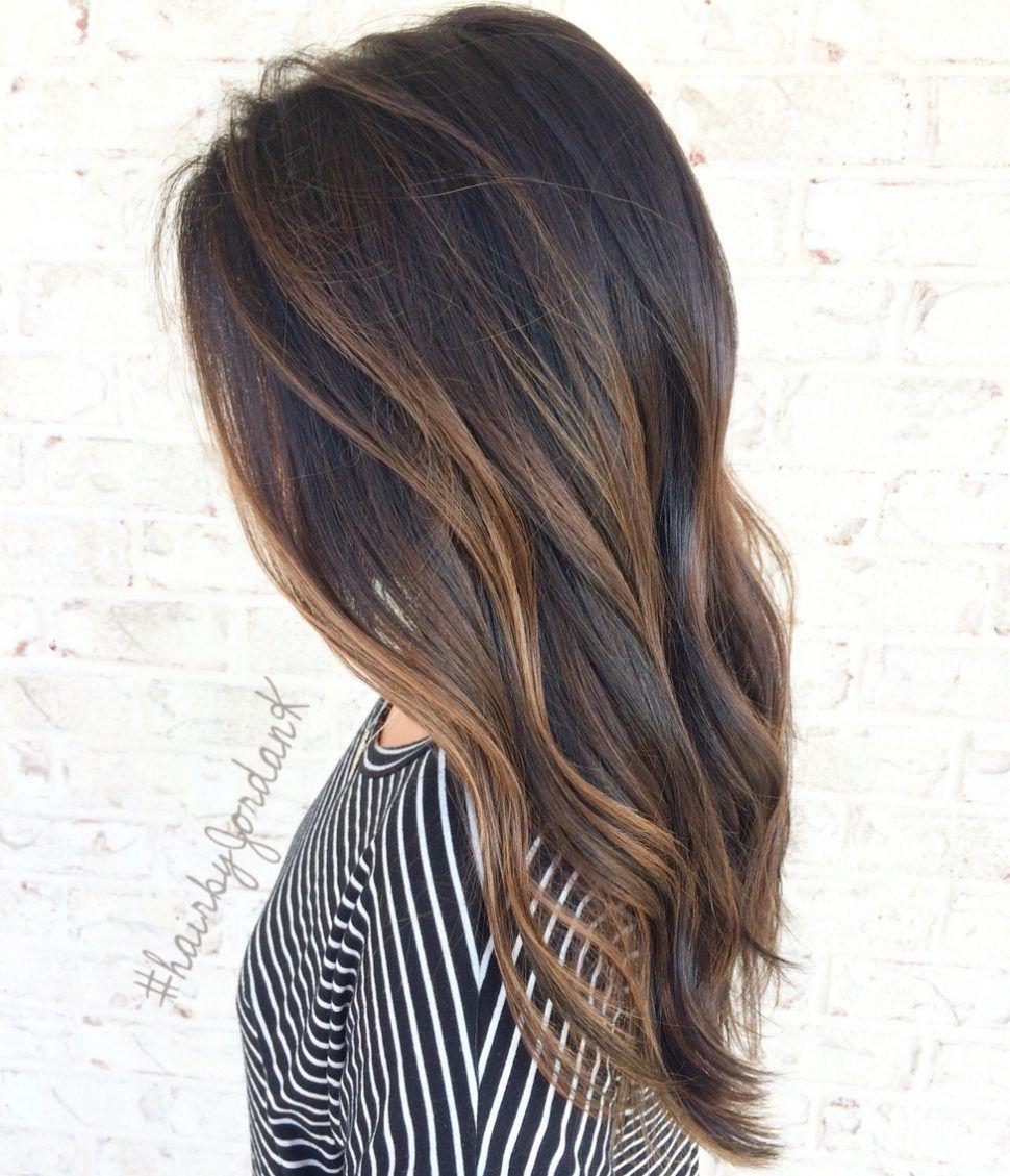 Hair Color Balayage Dark Brown Hair At Home Caramel On Medium Length Shoulder Straight With Red Highlights To Light Blon Hair Styles Caramel Hair Balayage Hair