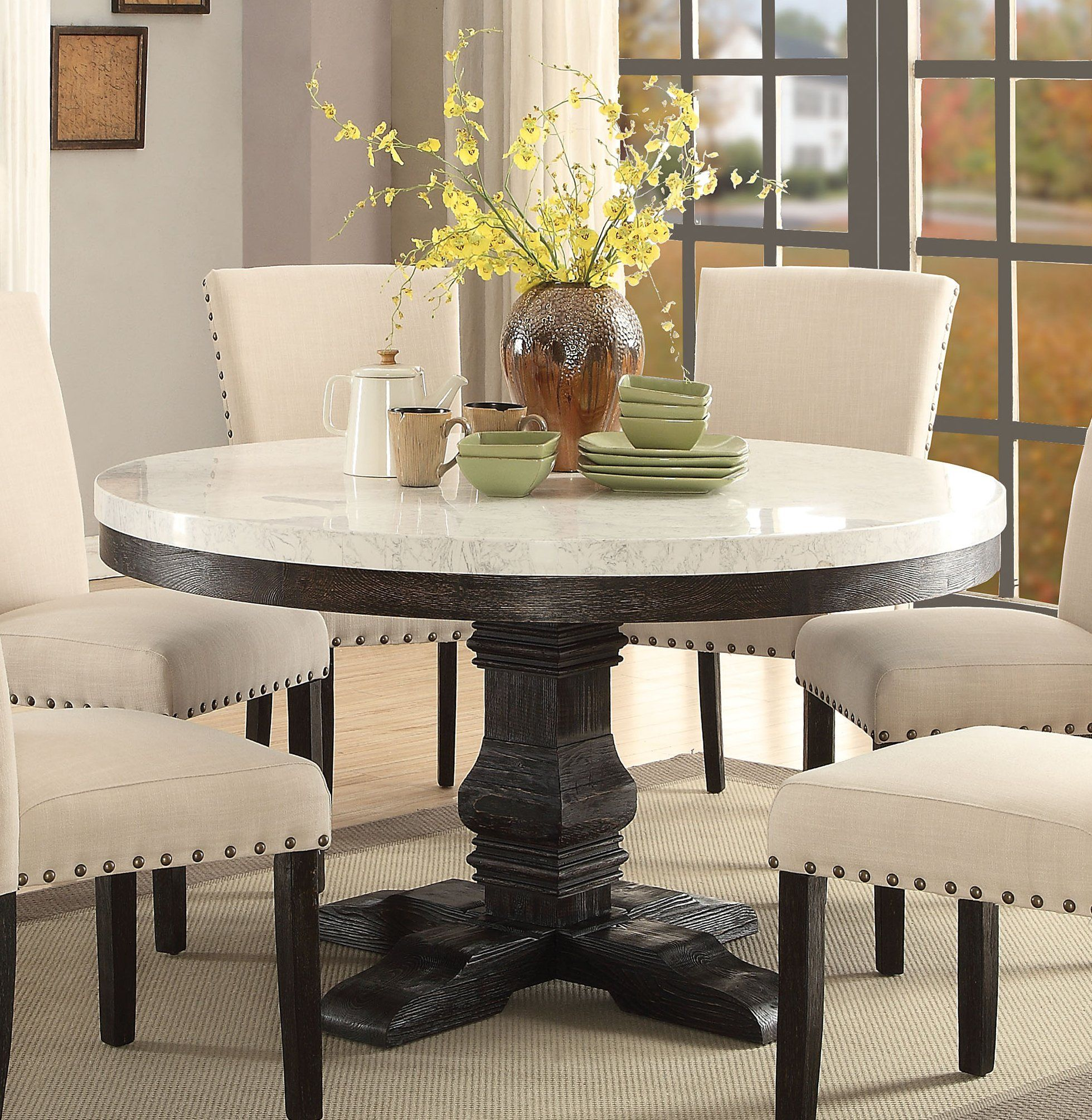 Acme Nolan White Faux Marble Top And Wood Finish Round Dining