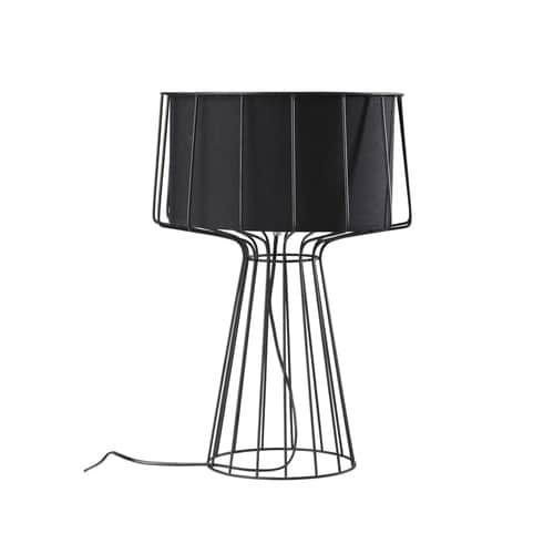 Lampada in metallo abat-jour in cotone nero H 53 cm PULSE