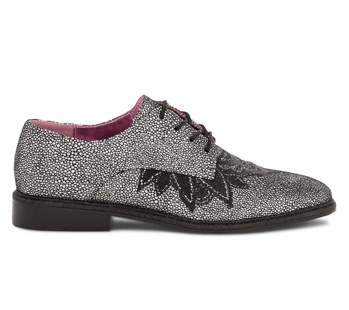 femme Chaussures Derby argent noir brodé et Derbies x8qRPwYq