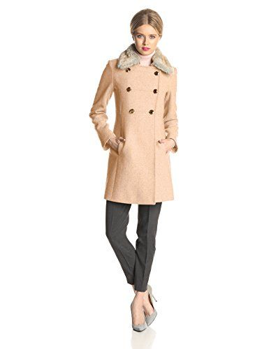 c4e4187ae8c7 Jessica Simpson Women's Double Breasted Military Wool Coat with Fur Collar,  Camel