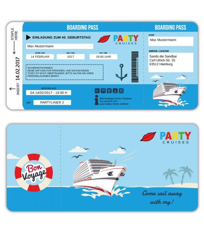 Einladung Als Kreuzfahrtschiff Ticket Boardkarte