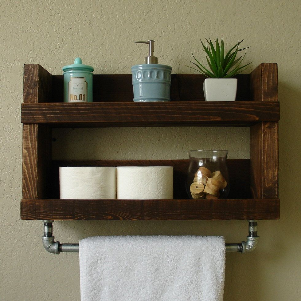 Rustic Modern 2 Tier Bathroom Wall Shelf With 18 Metal