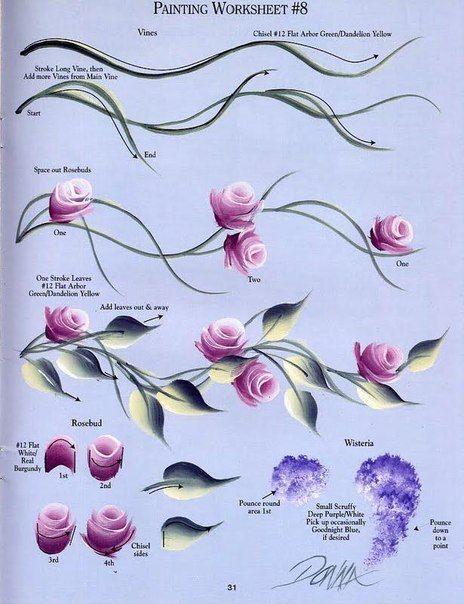 Цветы для росписи ногтей