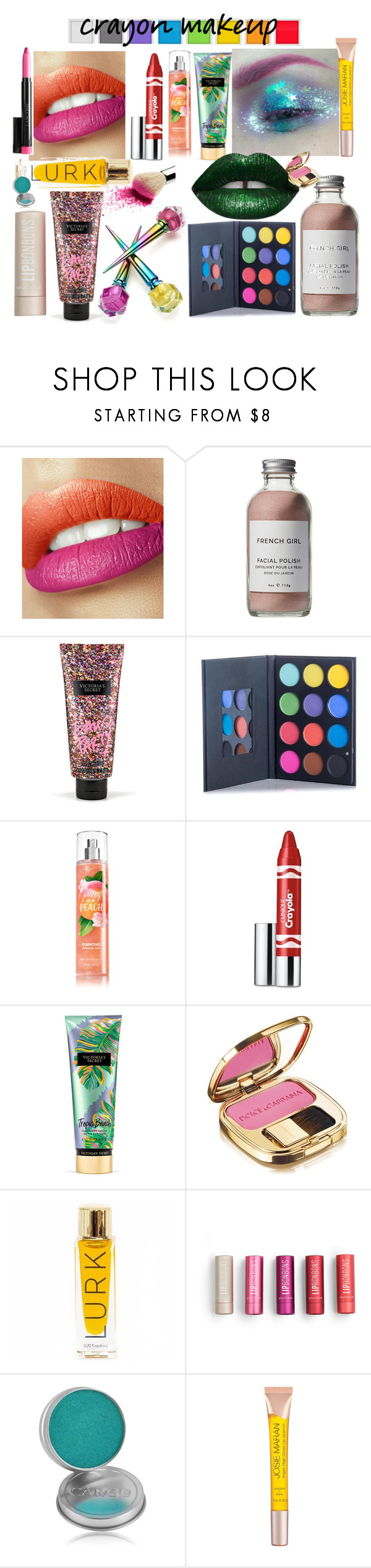 """""""pegatinas"""" by floo-carriillo ❤ liked on Polyvore featuring beauty, French Girl, Victoria's Secret, Clinique, Dolce&Gabbana, CARGO and Josie Maran"""
