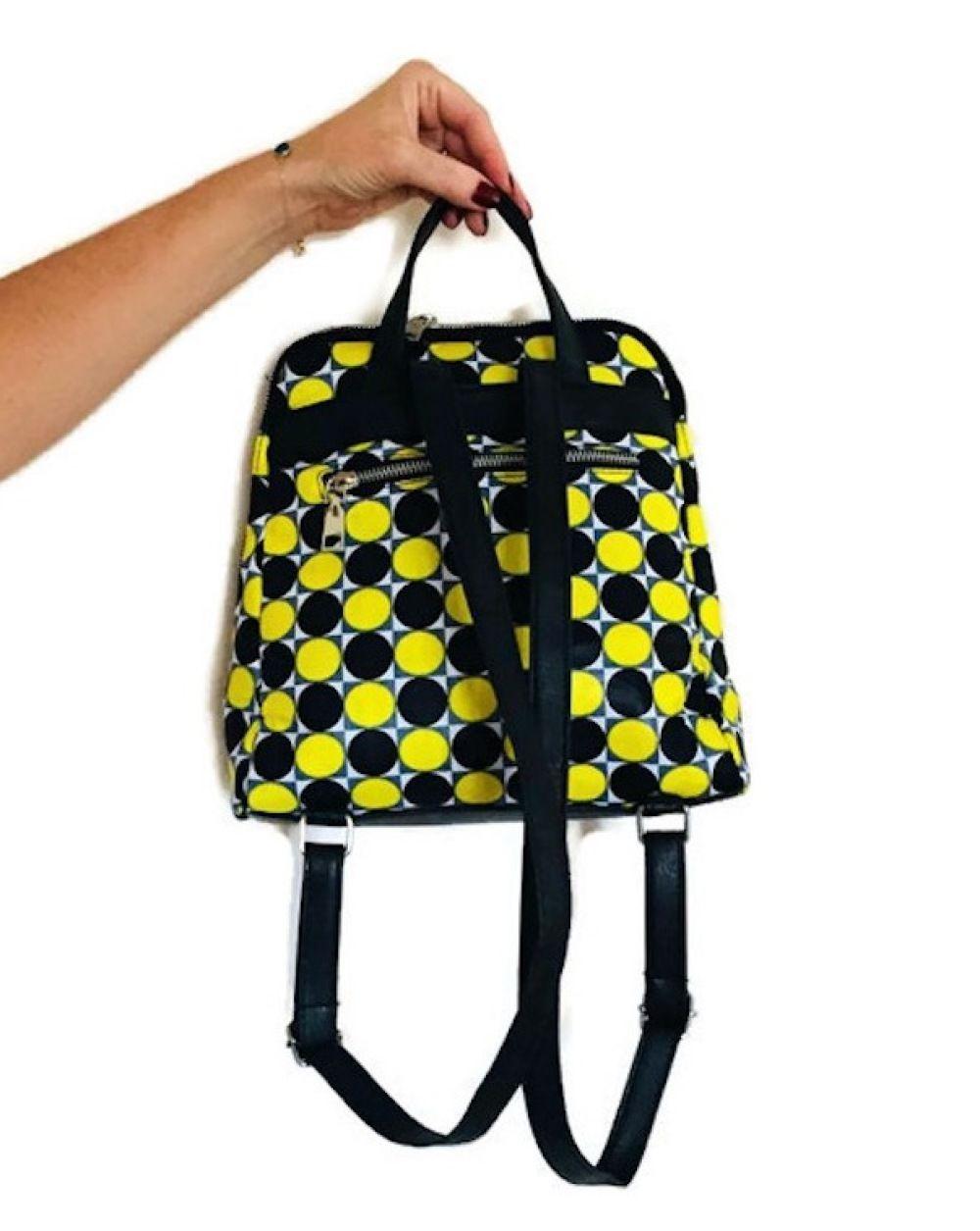 6fdd391f202 Sac à dos wax tissu africain imprimé géométrique graphique rond jaune et  noir sac à dos fashion