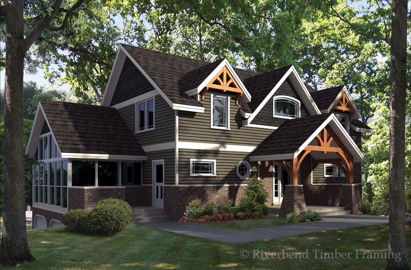 Timber Frame House Plan of Riverbend Timber Framing Elevation ...