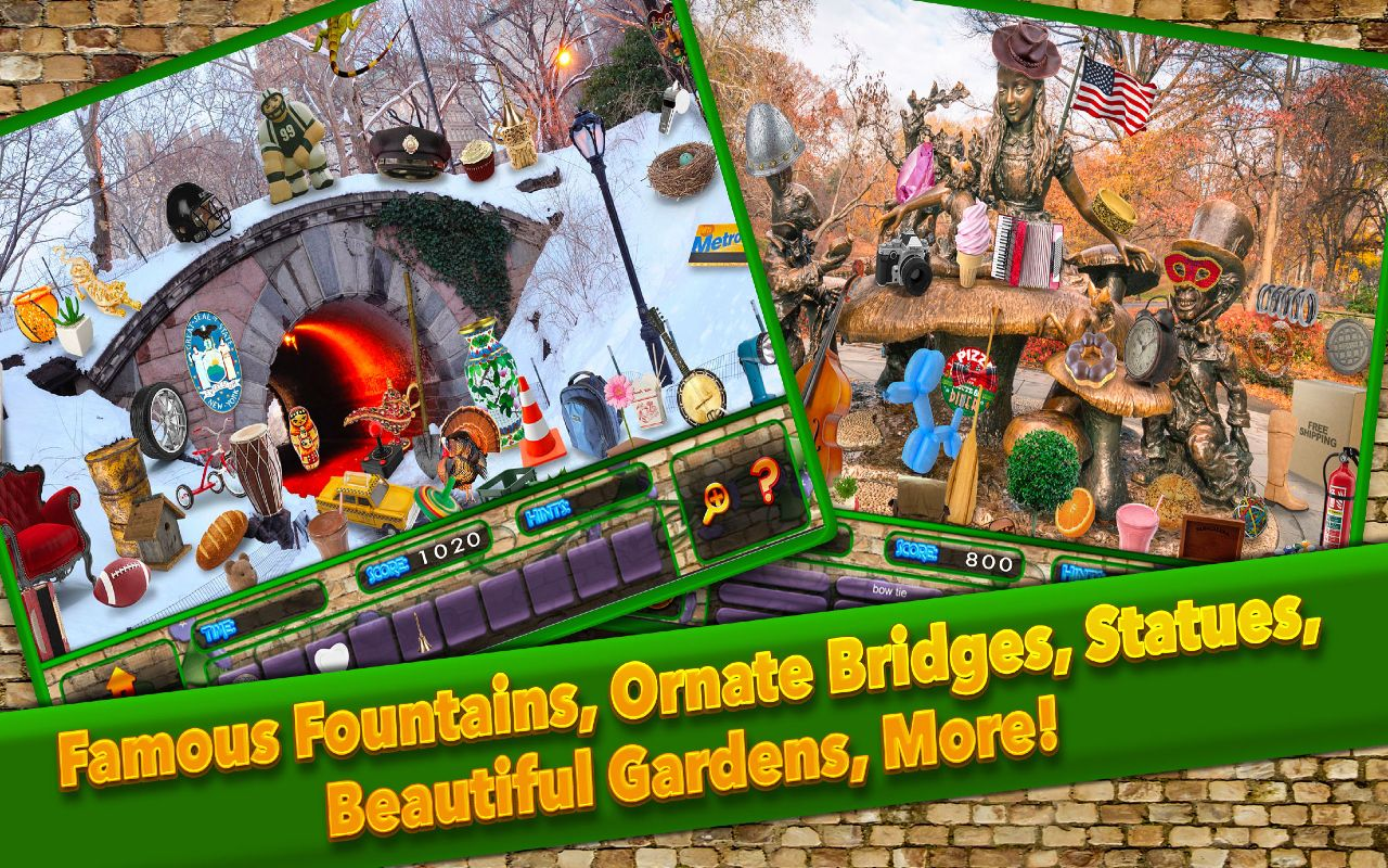 Hidden Object Central Park New York City C Gardens Pic Puzzle Objects Seek Game Logo Beautiful Gardens Hidden Objects
