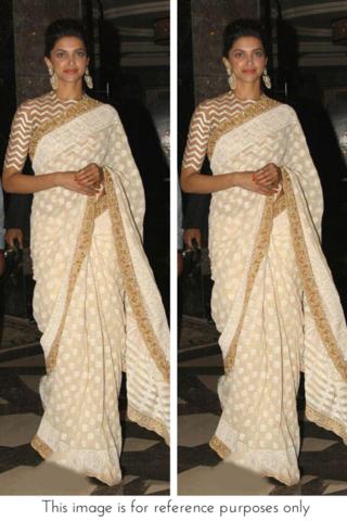 Deepika Padukone White & Gold Saree **** | Indien