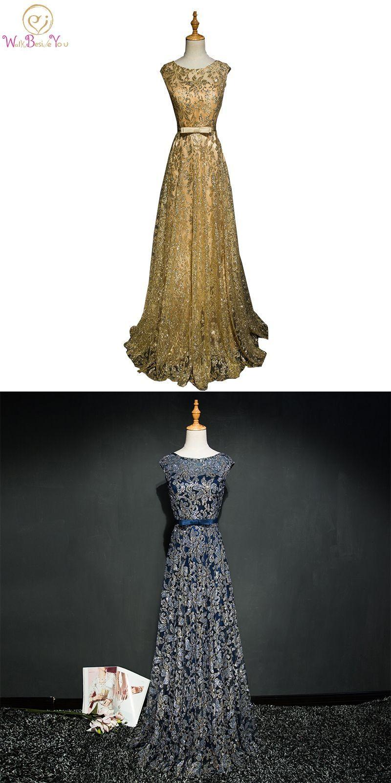 Walk Beside You Gold Evening Dresses Navy Blue Bling Long Vestido