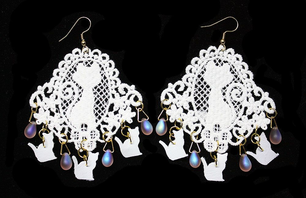 White Kitty Earrings with Lace Appliqué Glass Drops & Faux Leather Punched Cats - JnE