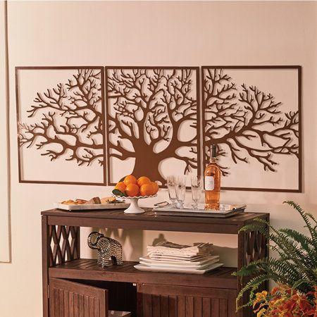 3 Pc Oak Tree Metal Wall Decor Metal Tree Wall Art Outdoor Wall Decor Tree Wall Art Diy