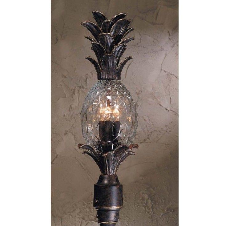 New 4 Light Tropical Outdoor Post Lamp Lighting Fixture Bronze Pineapple Glass Post Mount Lighting Outdoor Post Lights Post Lights