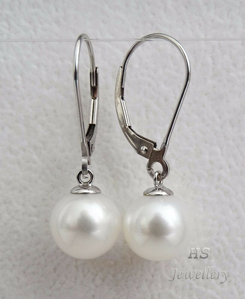 3d68bba0c3411 HS Round 10mm South Sea Cultured #Pearl #Hoop #Earrings #14K White ...