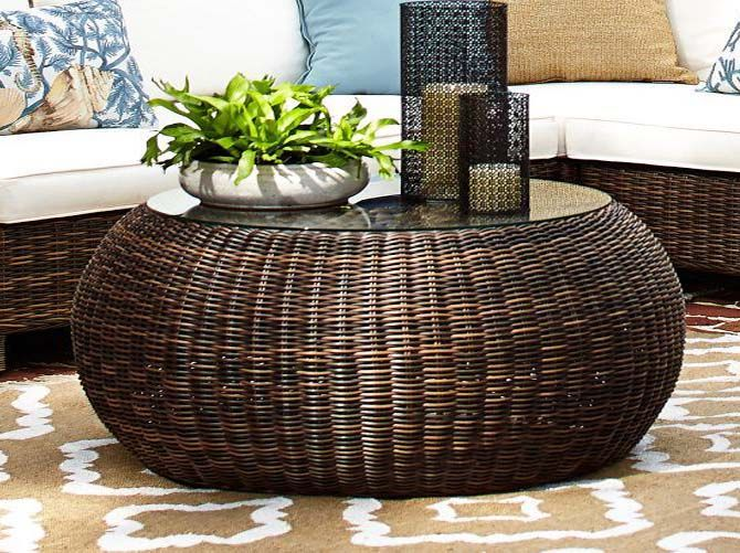 Marvelous Round Wicker Coffee Table More