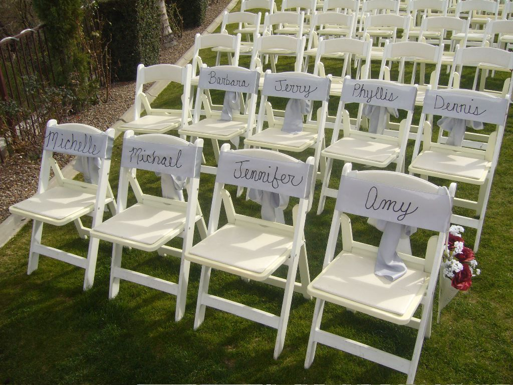 Wedding ceremony chair - Monogram Names In Chair Sashes For The Reserved Seating Good Thing I Have A Access Wedding Ceremony