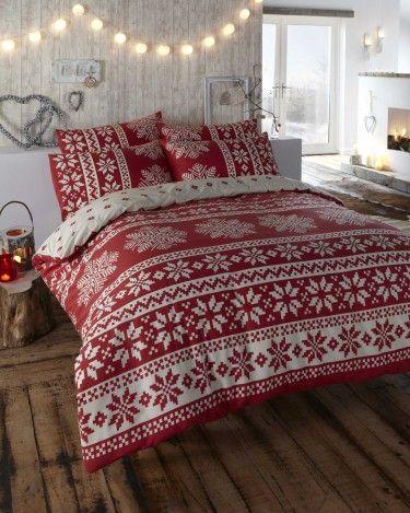 CHRISTMAS BEDDING! Innsbruck Red Flannelette Duvet Cover Set Double