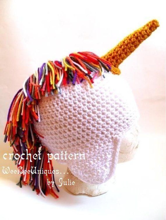 f9ab302a862 crochet pattern digital download rainbow unicorn ear flap hat sizes babies  to adults