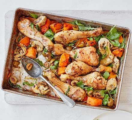 Oregano Chicken Squash Traybake Recipe Tray Bake Recipes Bbc Good Food Recipes Healthy Chicken Recipes
