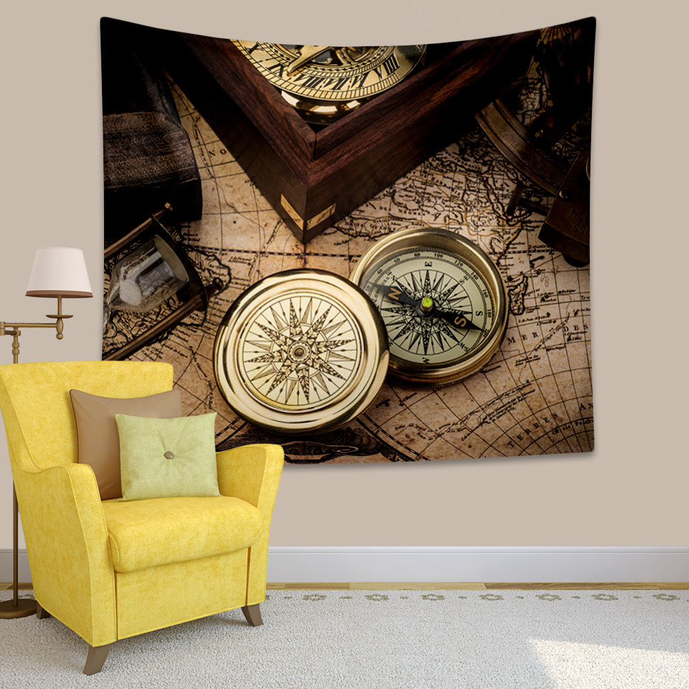 Tapestry, Vintage world map with compass wall art hanging, Steampunk ...