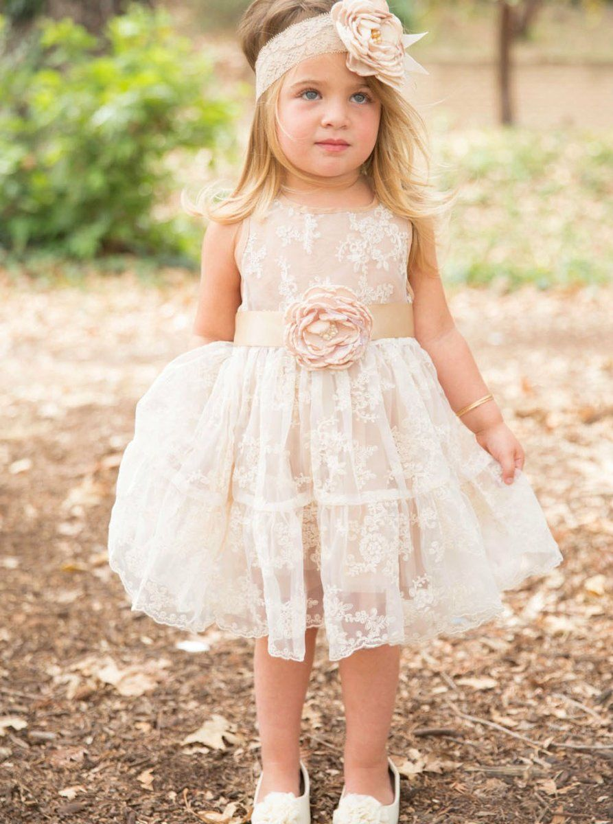 Champagne colored wedding dress  ALine Light Champagne Lace Flower Girl Dress with Flowers  Womenus