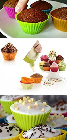 Cake Liners Baking Silicone Cupcake Liners Cake Mold Lunaoo 24