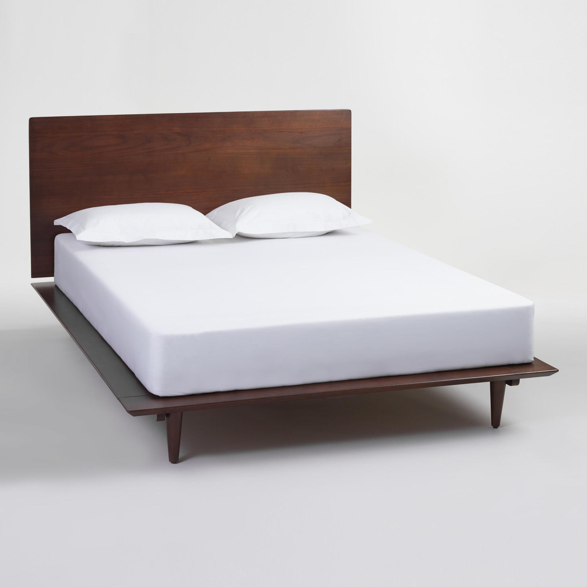 walnut brown wood barrett queen bed - Solid Wood Queen Bed Frame