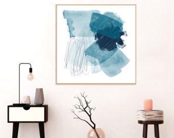 Abstrakten Kunst blau, blau, abstrakt, druckbare Wandkunst, sofortiger Download, abstrakte Aquarell-Malerei