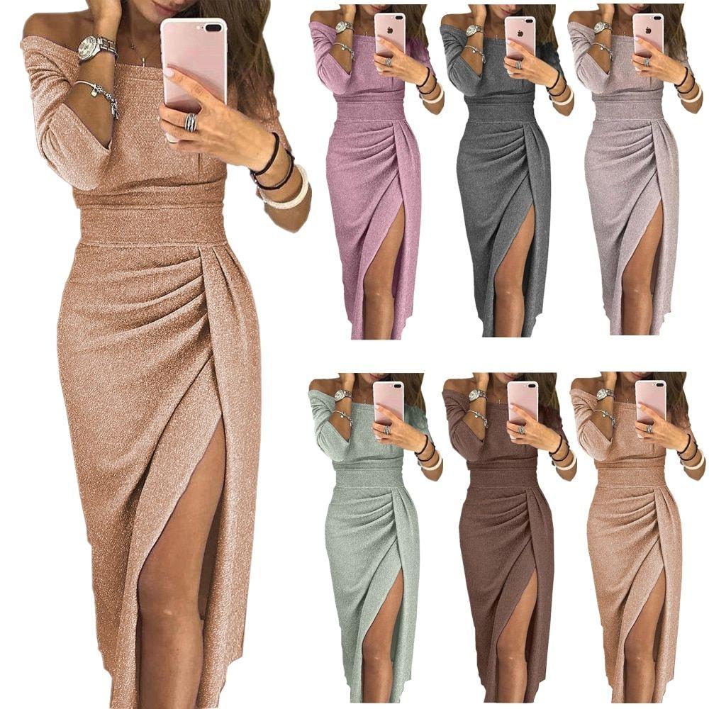 Photo of Push Up Slash Neck Long Dresses