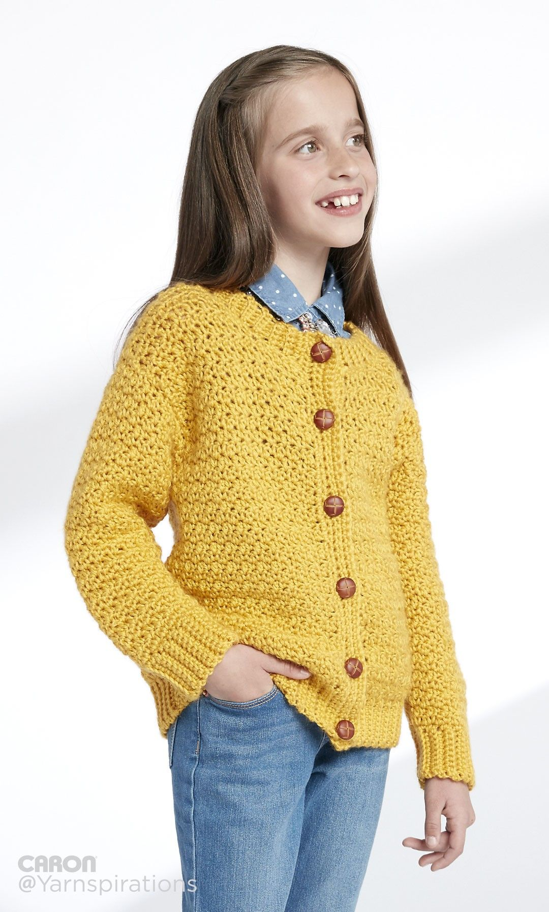 Child\'s Crochet Crew Neck Cardigan - Patterns | Yarnspirations sz 2 ...