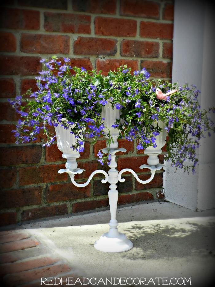 Diy Candelabra Flower Planter With Upcycled Ceiling Fan Shades Flower Planters Ceiling Fan Shades Diy Candelabra