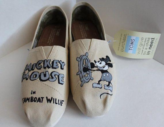 Custom Hand-Painted Disney Steamboat Willie by AWalkInHerShoes