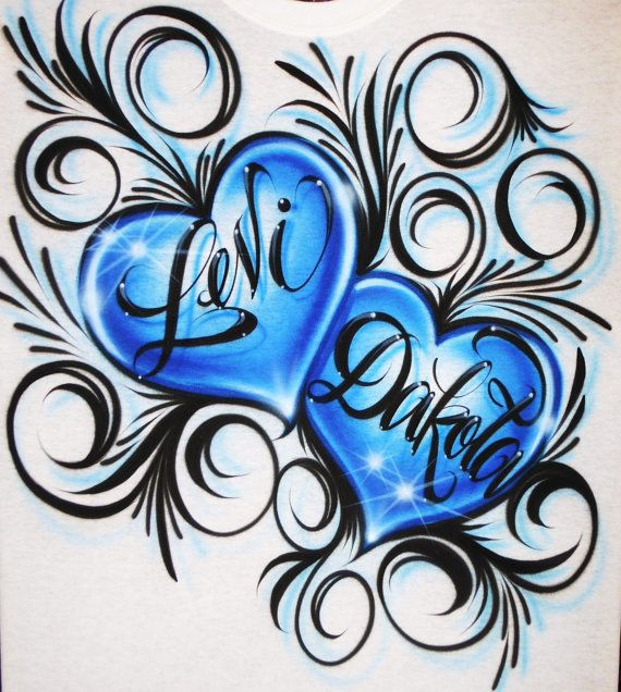 33bc0cec Airbrush T Shirt Couples Hearts Two Names by BizzeeAirbrush, $21.99 ...